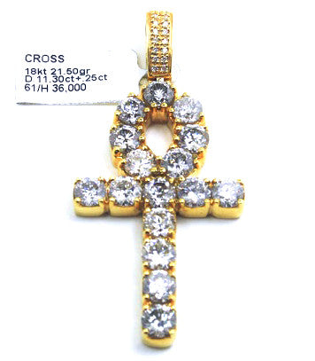 18k Yellow Gold Ankh Diamond Pendant