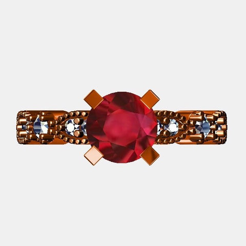 Rose Gold Ruby & Diamond Custom Engagement Ring 1.52ctw