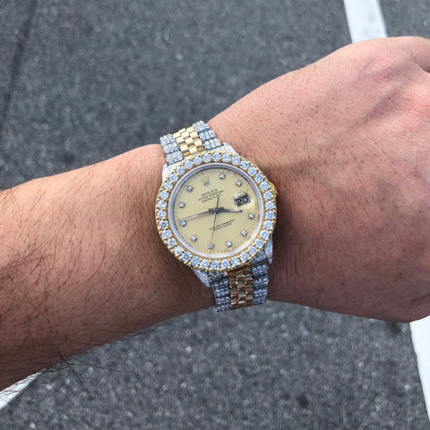 Rolex DateJust 36mm Two Tone Iced Out