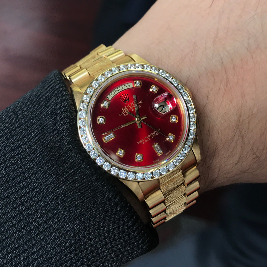 Rolex Day Date President Watch Red Dial Bark Special Edition