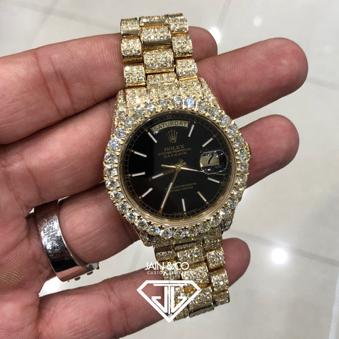 Rolex Day Date Presidential Black Stick Dial Fully Bust Down