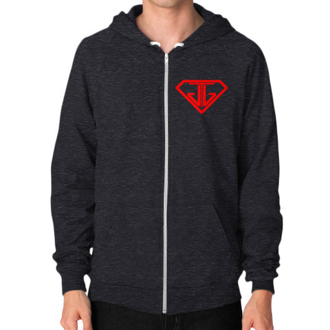JTJ Blood Red Logo Men's Zip Hoodie Tri-Blend Black - Jain The Jeweler