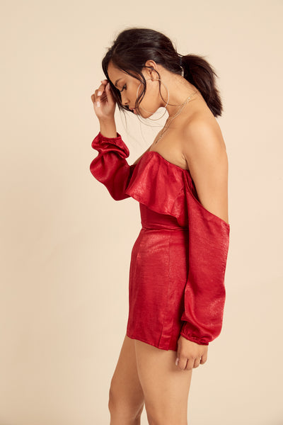 Peppermint Satin Romper - FINAL SALE