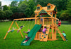 Gorilla Playsets Chateau Clubhouse Malibu Wood Roof Swing Set - Swing Set Paradise