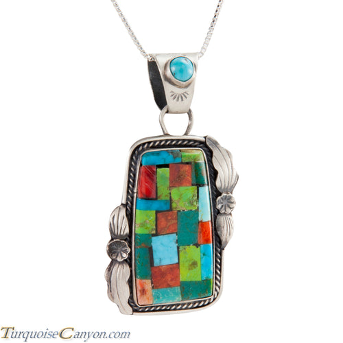 Navajo Native American Turquoise and Gaspeite Pendant Necklace SKU225224