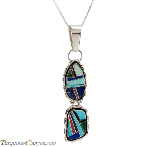 Navajo Native American Turquoise and Lab Opal Inlay Pendant Necklace SKU225823