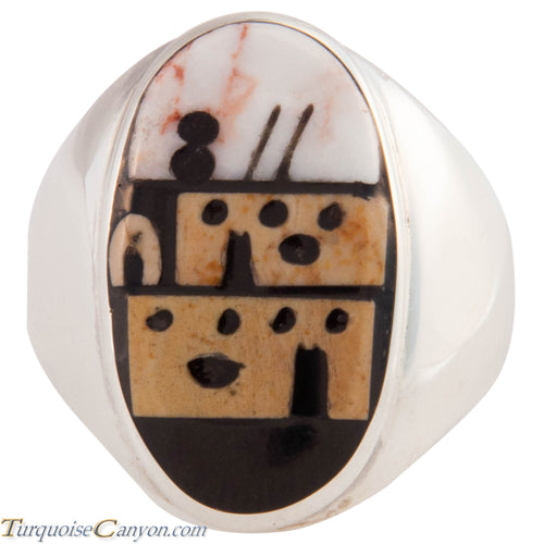 Zuni Native American Pueblo Design Inlay Ring Size 10 by Booqua SKU227261