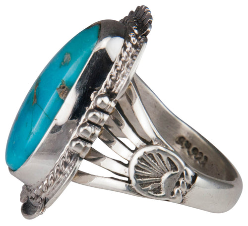 Navajo Native American Castle Dome Turquoise Ring Size 8 1/4 SKU229592