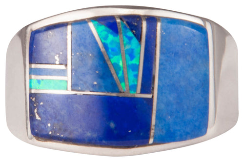 Navajo Native American Lapis and Lab Opal Ring Size 11 1/2 by Joe SKU229738