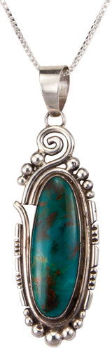 Navajo Native American Kingman Turquoise Pendant Necklace by Skeets SKU229887