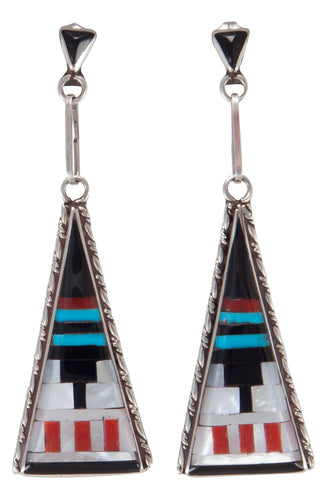 Zuni Native American Turquoise and Coral Inlay Earrings by SD Boone SKU230260