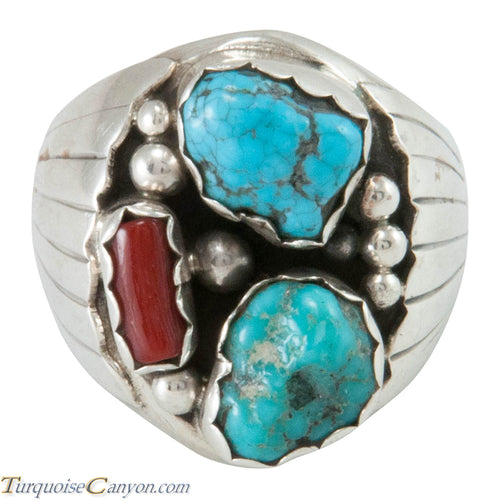 Navajo Native American Kingman Turquoise and Coral Ring Size 10 1/2 SKU230344