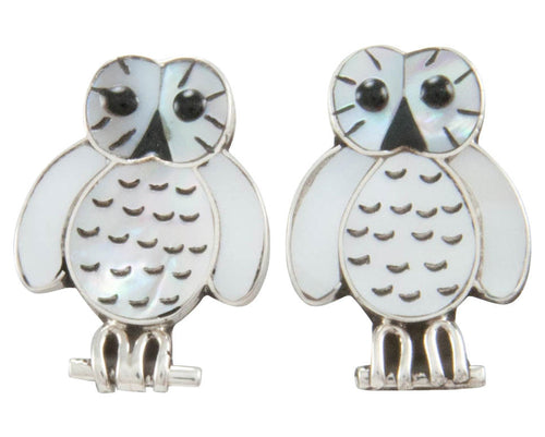 Zuni Native American Mother of Pearl Owl Earrings by Kallestewa SKU230805