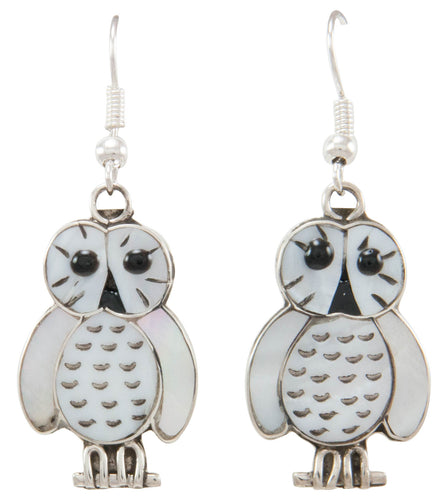 Zuni Native American Mother of Pearl Owl Earrings by Kallestewa SKU231018