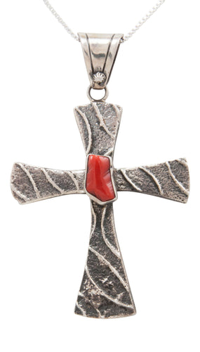 Navajo Native American Red Coral Cross Pendant Necklace by Darrel Jones SKU231382
