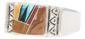 Navajo Native American Created Opal and Jet Inlay Ring Size 12 1/2 by Calvin Begay SKU231398