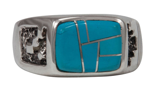 Navajo Native American Sleeping Beauty Turquoise Ring Size 12 3/4 by Calvin Begay SKU231412