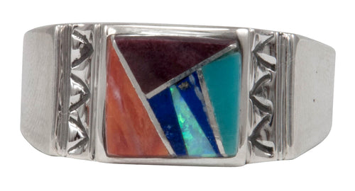 Navajo Native American Turquoise and Lapis Inlay Ring Size 12 by Calvin Begay SKU231418