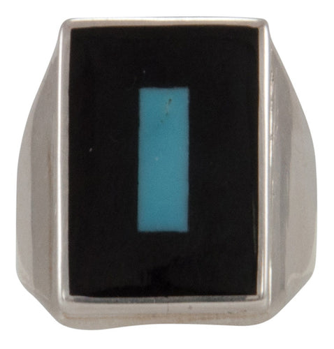 Zuni Native American Turquoise and Jet Inlay Ring Size 10 1/2 by Harlan Coonsis SKU231694