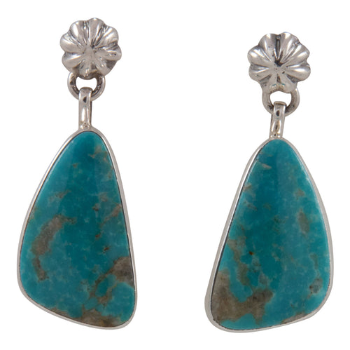 Navajo Native American Kingman Turquoise Earrings by Sam Harrold SKU231714