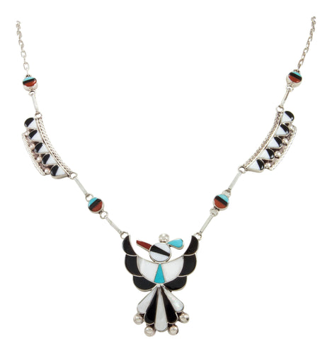 Zuni Native American Turquoise Inlay Thunderbird Necklace by Ahiyite SKU231894