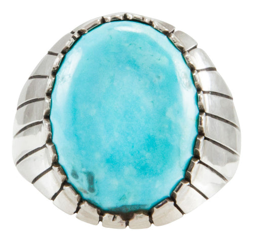 Navajo Native American Kingman Turquoise Ring Size 12 by Ray Jack SKU231898