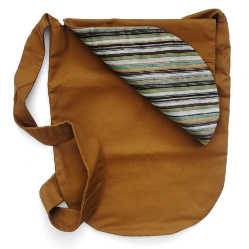 Reversible Brown Canvas Bucket Bag