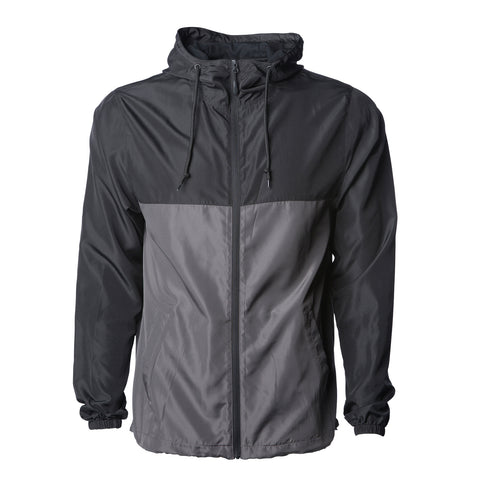 'Essentials Lightweight Windbreaker' (Black & Grey)