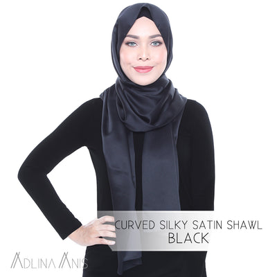 Curved Silky Satin Shawl - Black