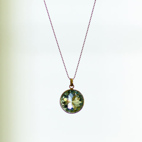 Limelight, green amethyst set in 14k gold-plated silver