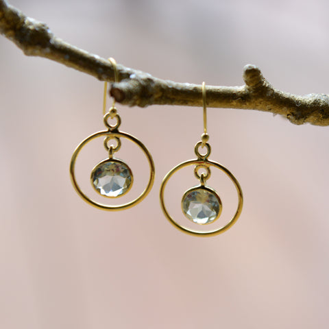 Green Amethyst, Yellow gold-plated silver