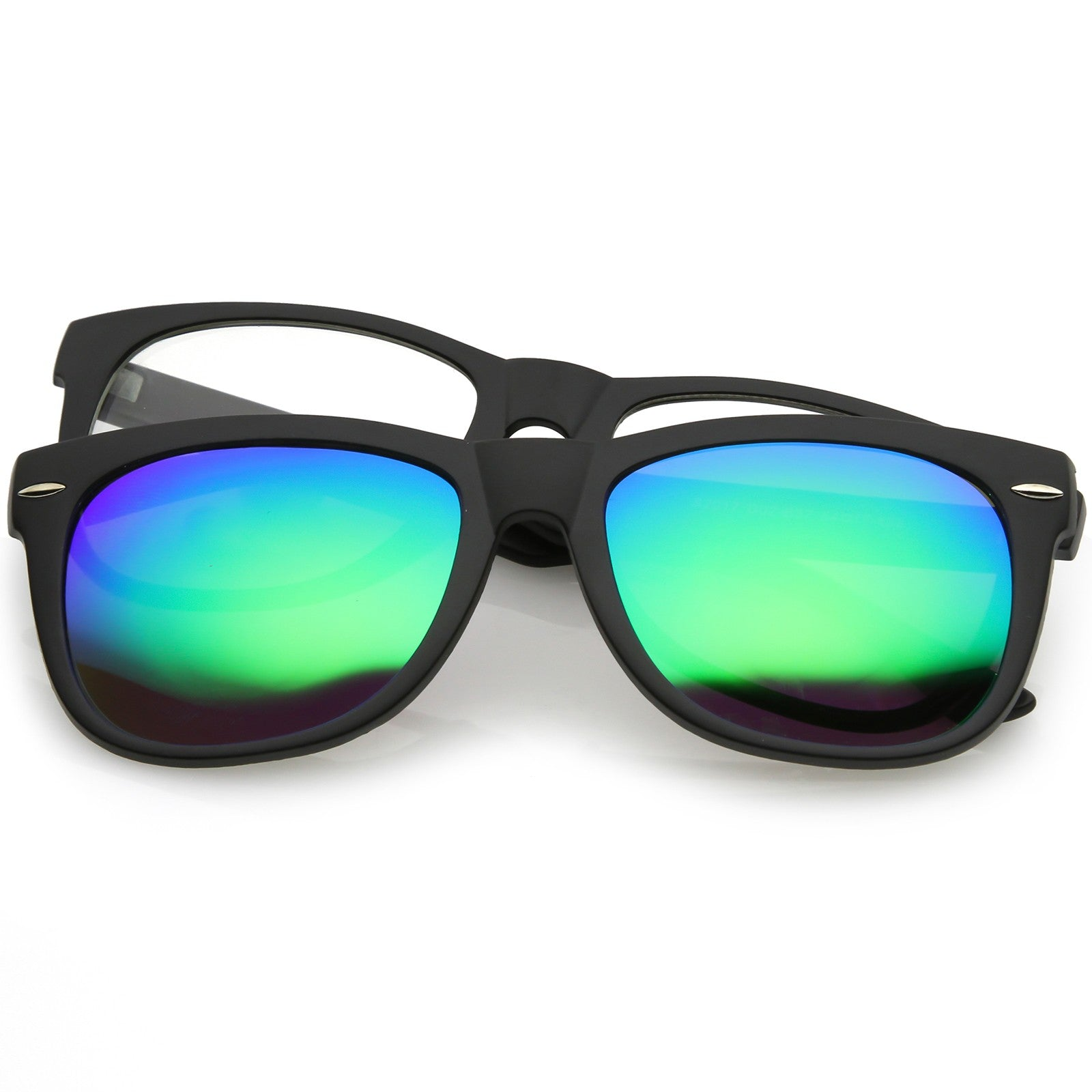 Premium-Magnetic-Clip-On-Horn-Rimmed-Sunglasses-Mirrored-And-Clear-Square-Lens-5 thumbnail 8