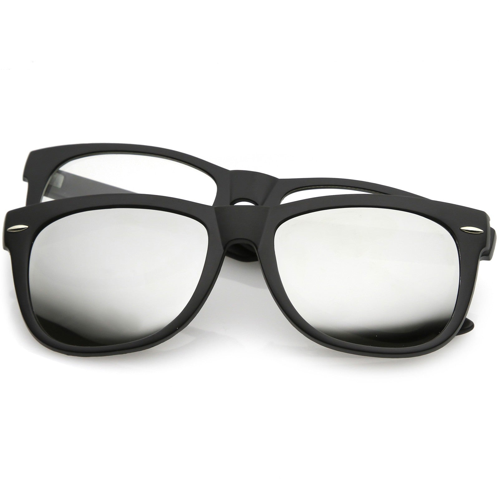 Premium-Magnetic-Clip-On-Horn-Rimmed-Sunglasses-Mirrored-And-Clear-Square-Lens-5 thumbnail 7