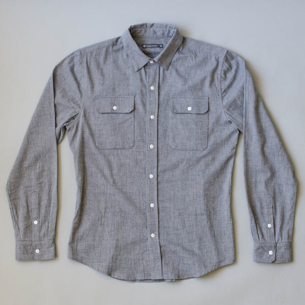 Japanese Organic Linen / Cotton Work Shirt - Indigo Stone