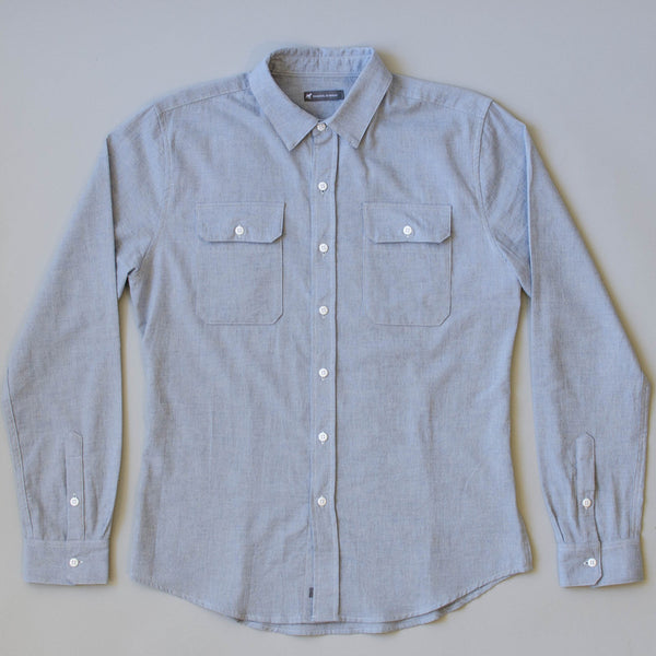 Japanese Organic Linen / Cotton Work Shirt - Sky