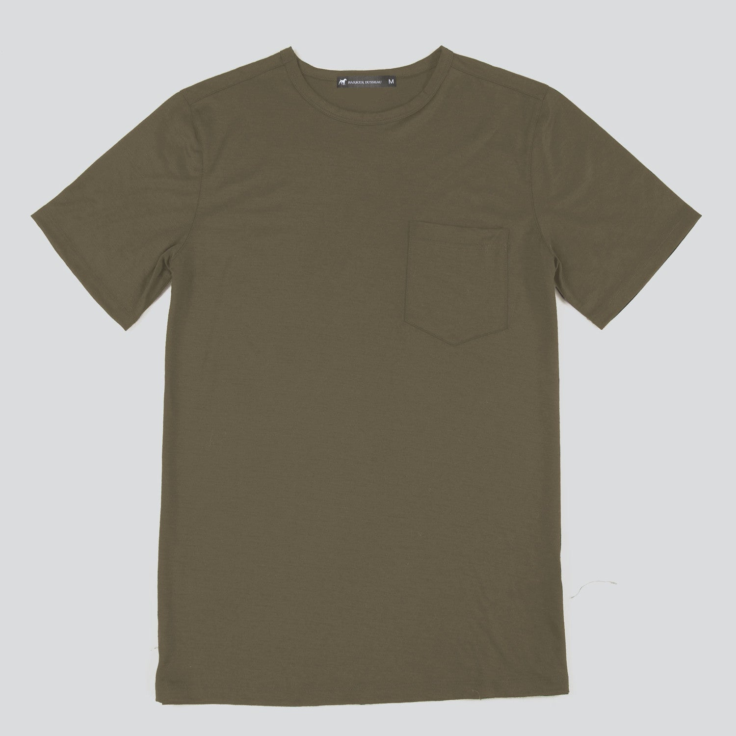 Merino Wool Single Pocket Tee - Olive Short Sleeve Merino Tee- Parker Dusseau : Functional Menswear Essentials for the Always Ready Lifestyle. Based in San Francisco, California