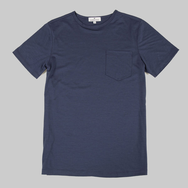 Merino Wool Single Pocket Tee - Navy