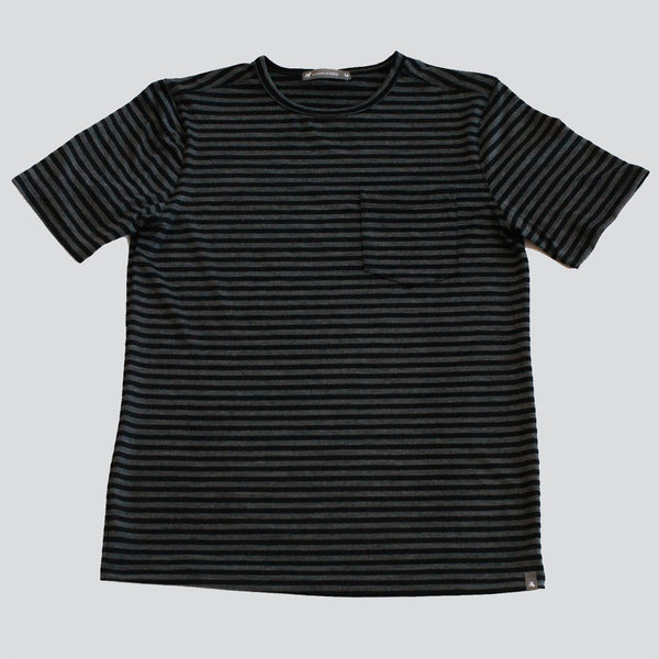 Merino Wool Single Pocket Tee - Charcoal Stripe