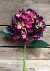 "ITEM 00936 BUR - 20"" BURGUNDY HYDRANGEA SPRAY"