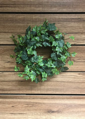 "ITEM 12213 - 6.5"" FROSTED GREEN ENGLISH IVY WREATH WITH 143 LEAVES"
