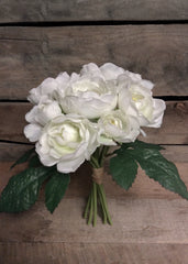 "ITEM 10138 W - 10"" WHITE CABBAGE ROSE BUNDLE WITH 9 HEADS"