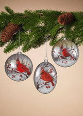 "ITEM G2505610 - 5.25""H GLASS CARDINAL ORNAMENT"