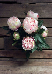 "ITEM 10135 LTPK - 22.5"" LIGHT PINK PEONY BUSH WITH 9 HEADS"