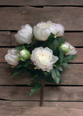 "ITEM 10135 W - 22.5"" WHITE PEONY BUSH WITH 9 HEADS"
