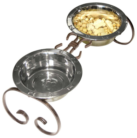 wrought iron elevated dog food feeder diner made from hand forged iron and is available in black, hammered silver or copper