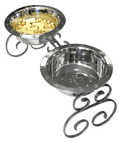 "These 10"" wrought iron elevated dog food feeders - diners come with two 2 quart stainless steel dog bowls"