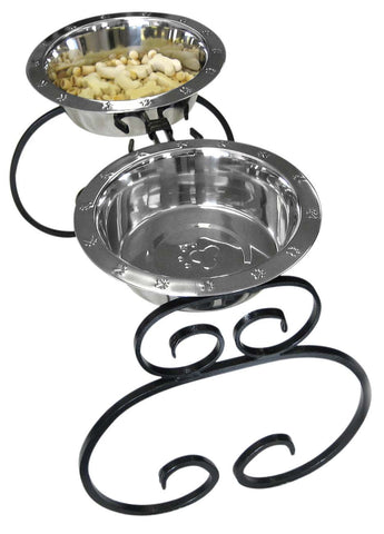 wrought iron elevated dog food feeders - diners with two 3 quart stainless steel bowls.