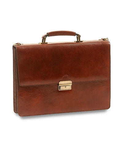 Italian Leather Two-Section Briefcase