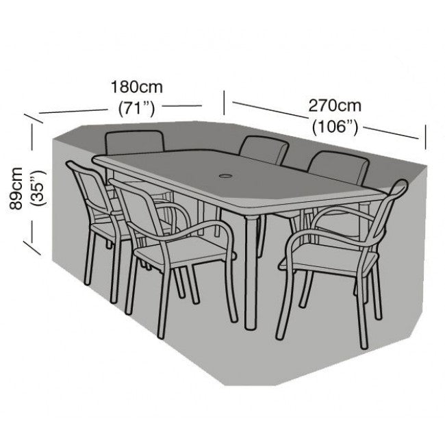 Garland Deluxe 6 Seat Rectangular Dining Garden Furniture Set Cover (W1412)