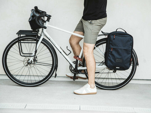 Two Wheel Gear - Pannier Backpack Convertible - Bag on Bike Commuter - Military Waxed Canvas Overcast Blue - On Bike Commuter
